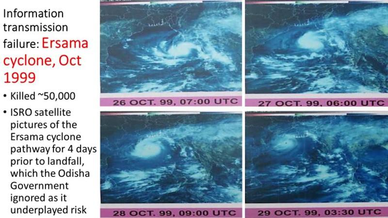 NRSA satellite pictures showing the cyclone's progress for 3 days before landfall