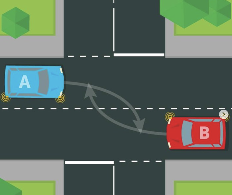 Two cars are pictured at an intersection.