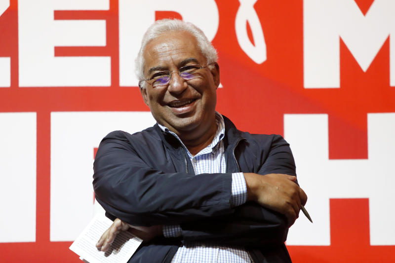 Portuguese Prime Minister and Socialist Party leader Antonio Costa smiles during a meeting with citizens to discuss inclusion policies for disabled people, on Sunday, Sept. 21, 2019. Portugal's governing Socialist Party is hoping an economic recovery over the past four years will ensure it is returned to power in an Oct. 6 general election. (AP Photo/Armando Franca)