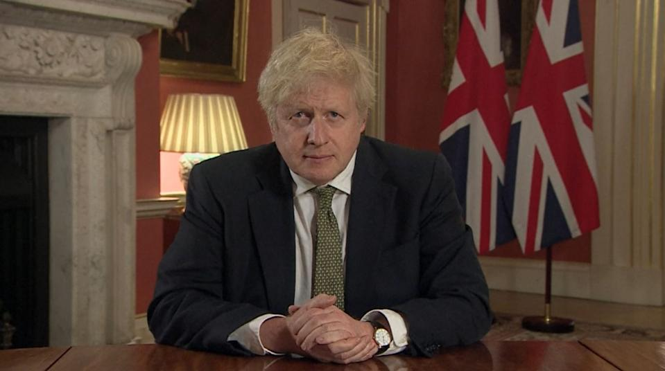 Prime Minister Boris Johnson making a televised address to the nation from 10 Downing Street, London, setting out new emergency measures to control the spread of coronavirus in England.