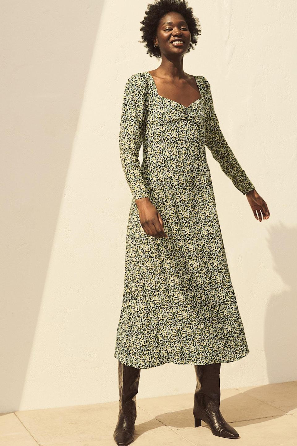 <p>This floral <span>Puff-sleeved Dress</span> ($13, originally $35) is ready for spring.</p>