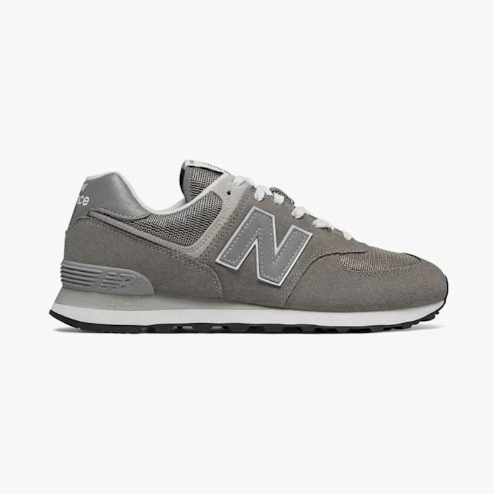 """$80, BLOOMINGDALES. <a href=""""https://www.bloomingdales.com/shop/product/new-balance-mens-classic-574-suede-lace-up-sneakers?ID=2700635&CategoryID=1004777#fn=ppp%3Dundefined%26sp%3DNULL%26rId%3DNULL%26spc%3D338%26spp%3D1%26pn%3D2%7C4%7C1%7C346%26rsid%3Dundefined%26smp%3DmatchNone"""" rel=""""nofollow noopener"""" target=""""_blank"""" data-ylk=""""slk:Buy Now"""" class=""""link rapid-noclick-resp"""">Buy Now</a><br>"""