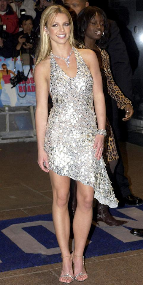 <p>Fans knew there was trouble in pop world paradise when Spears showed up to her film's Leicester Square opening without Justin Timberlake. Though the two split earlier in the month, Spears came out stronger in this plunging metallic halter dress. </p>
