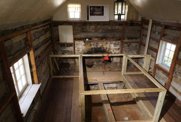 A photo taken on March 29, 2017 shows the interior of a log cabin structure which was originally used as a kitchen, next to the plantation house at Josiah Henson Park in Bethesda, Maryland