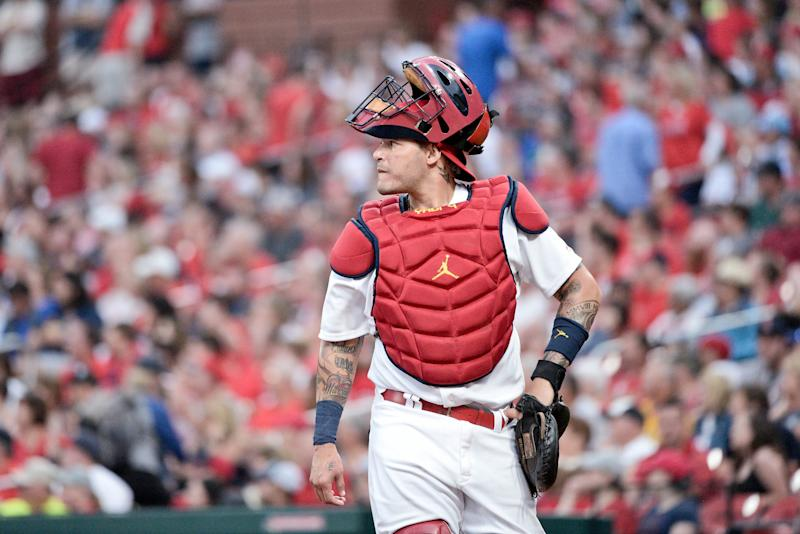 ST. LOUIS, MO - JUNE 26: St. Louis Cardinals Catcher Yadier Molina (4) during an interleague game with Oakland athletics in the St. Louis Cardinals on June 26, 2019 at Busch Stadium in St. Louis, MO. (Photo by Rick Ulreich / Icon Sportswire via Getty Images)