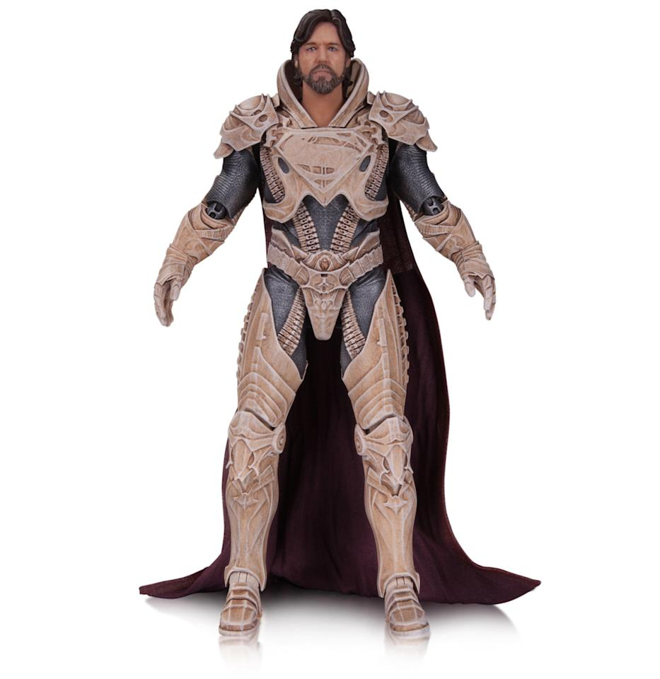 <p>Superman's daddy (Russell Crowe) comes equipped with his <i>Man of Steel</i> armor, rifle, and interchangeable hands. <i>(Available in September; $45)</i></p>