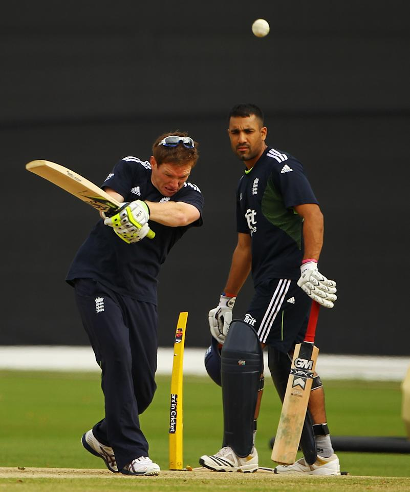 CARDIFF, WALES - SEPTEMBER 04:  Eoin Morgan and Ravi Bopara of England in action during an England nets session at the SWALEC Stadium on September 4, 2010 in Cardiff, Wales.  (Photo by Matthew Lewis/Getty Images)