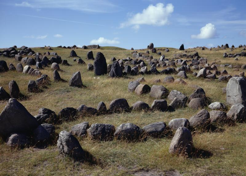 DENMARK - CIRCA 2003: Tombs in the shape of a ship, Lindholm Hoje viking burial site, Aalborg, Denmark. Viking civilisation, 9th-11th century. (Photo by DeAgostini/Getty Images)