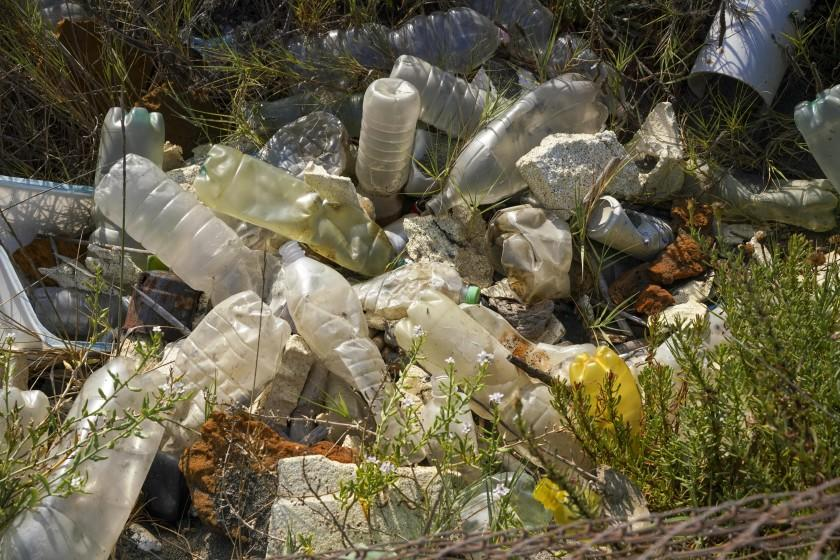 "A heap of garbage lies near a beach in Fiumicino, Italy, on Aug. 15. Italy has produced 10% less garbage during its coronavirus lockdown, but environmentalists warn that increased reliance on disposable masks and packaging is imperiling efforts to curb single-use plastics that end up in oceans and seas. <span class=""copyright"">(Associated Press)</span>"