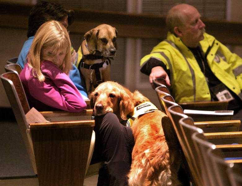 ADDS ORIENTATION FOR CLARIFICATION - Glen Hoffman, left, of Extra Mile Ministries with K9 crisis comfort dog Beau, listen during a community meeting at Newtown High school on the future of Sandy Hook Elementary School in Newtown, Conn., Sunday, Jan. 13, 2013. Talk about Sandy Hook Elementary School is turning from last month's massacre to the future, with differing opinions on whether students and staff should ever return to the building where a gunman killed 20 students and six educators. (AP Photo/Michelle McLoughlin, Pool)