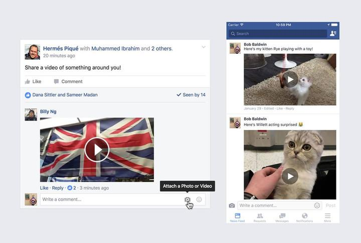 Facebook video comments are available worldwide