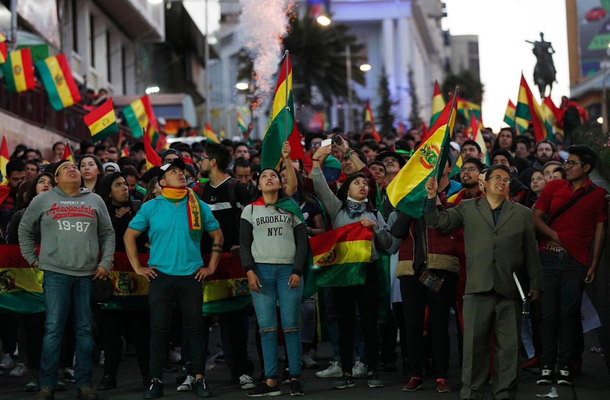 Protesters demand a second-round presidential election in La Paz, Bolivia, on Oct. 26, 2019.  (Photo: AP Photo/Juan Karita)