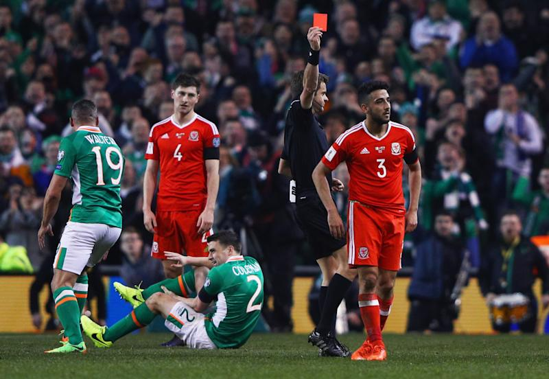 Neil Taylor was sent off after his challenge on Seamus Coleman