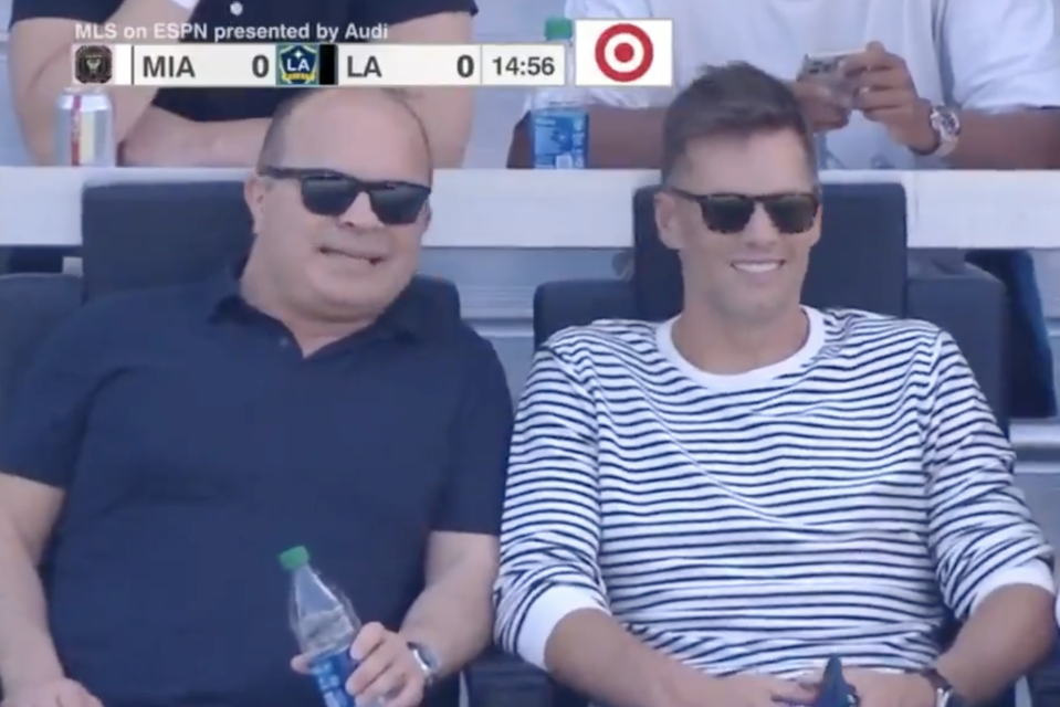 NFL legend Tom Brady and former NHL enforcer Tie Domi were seen hanging out together yet again over the weekend. (Twitter/TSN Sports)