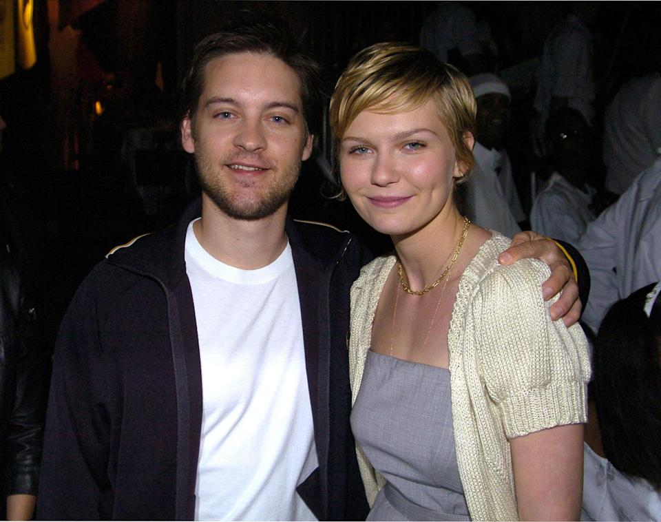 """<p>The original Peter Parker and Mary Jane Watson's chemistry was clear from the beginning, just remember that kiss! Yes, the upside-down in the pouring rain kiss. Iconic<em>.</em></p> <p>Though the <a href=""""http://www.popsugar.com/Kirsten-Dunst"""" class=""""link rapid-noclick-resp"""" rel=""""nofollow noopener"""" target=""""_blank"""" data-ylk=""""slk:Kirsten"""">Kirsten</a> and <a href=""""http://www.popsugar.com/Tobey-Maguire"""" class=""""link rapid-noclick-resp"""" rel=""""nofollow noopener"""" target=""""_blank"""" data-ylk=""""slk:Tobey"""">Tobey</a> kept the details of their relationship private, director Sam Raimi revealed to the <strong>Sydney Morning Herald</strong> in 2007 that the couple dated briefly while filming the first installment of his <strong>Spider-Man</strong> trilogy. After their breakup, Raimi explained, """"<a href=""""http://www.smh.com.au/entertainment/spideys-sticky-love-web-20070507-gdq2s1.html"""" class=""""link rapid-noclick-resp"""" rel=""""nofollow noopener"""" target=""""_blank"""" data-ylk=""""slk:I was concerned they wouldn't get the same chemistry back"""">I was concerned they wouldn't get the same chemistry back</a>, but it was just me worrying ... They really like each other, I think, very much. And that relationship probably just added to their ability to trust each other.""""</p> <p>Kirsten and Tobey's relationship also caught the attention of co-star <a href=""""http://www.popsugar.com/James-Franco"""" class=""""link rapid-noclick-resp"""" rel=""""nofollow noopener"""" target=""""_blank"""" data-ylk=""""slk:James Franco"""">James Franco</a>, who played Harry Osborn in the movies, Mary Jane's other love interest and Peter's best friend. In an interview with <strong>Playboy</strong> in 2013, he revealed that the love triangle existed off set, too. """"<a href=""""http://www.eonline.com/news/822150/kirsten-dunst-s-road-to-engagement-crying-over-boys-coming-into-her-own-before-finding-happiness-with-jesse-plemons"""" class=""""link rapid-noclick-resp"""" rel=""""nofollow noopener"""" target=""""_blank"""" data-ylk=""""slk:I had a crush on Kirsten"""">I had a crush on Kirsten</a"""