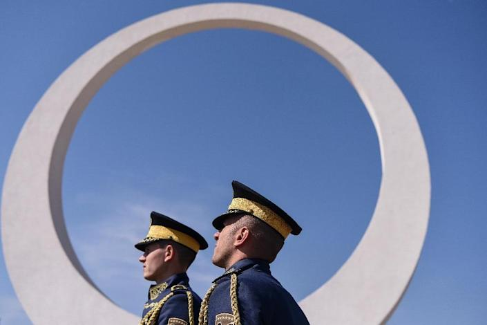 Kosovo will vote on whether to turn its own lightly-armed emergency response force, known as Kosovo Security Force (KSF), seen here in a ceremony, into a professional army. (AFP Photo/Armend NIMANI)