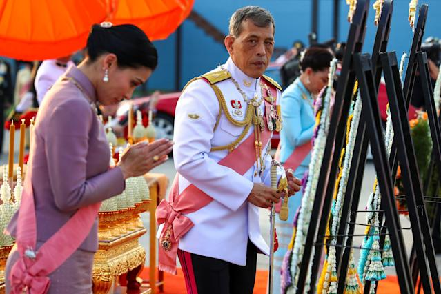 Thailand's King Maha Vajiralongkorn and Queen Suthida in October, three months after he made his lover his official consort. (Photo: REUTERS/Athit Perawognmetha)