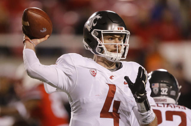 Washington State quarterback Luke Falk (4) passes the ball against Utah in the second half of an NCAA college football game Saturday, Nov. 11, 2017, in Salt Lake City. (AP Photo/Rick Bowmer)