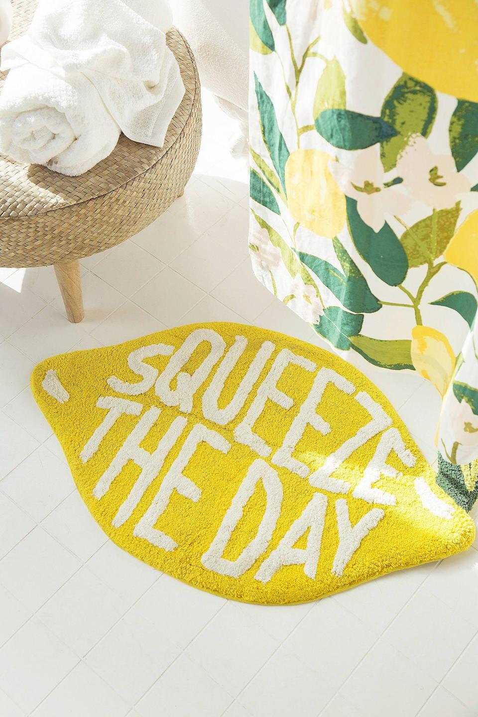 """<br> <br> <strong>Urban Outfitters</strong> Squeeze The Day Bath Mat, $, available at <a href=""""https://go.skimresources.com/?id=30283X879131&url=https%3A%2F%2Fwww.urbanoutfitters.com%2Fshop%2Fsqueeze-the-day-bath-mat"""" rel=""""nofollow noopener"""" target=""""_blank"""" data-ylk=""""slk:Urban Outfitters"""" class=""""link rapid-noclick-resp"""">Urban Outfitters</a>"""