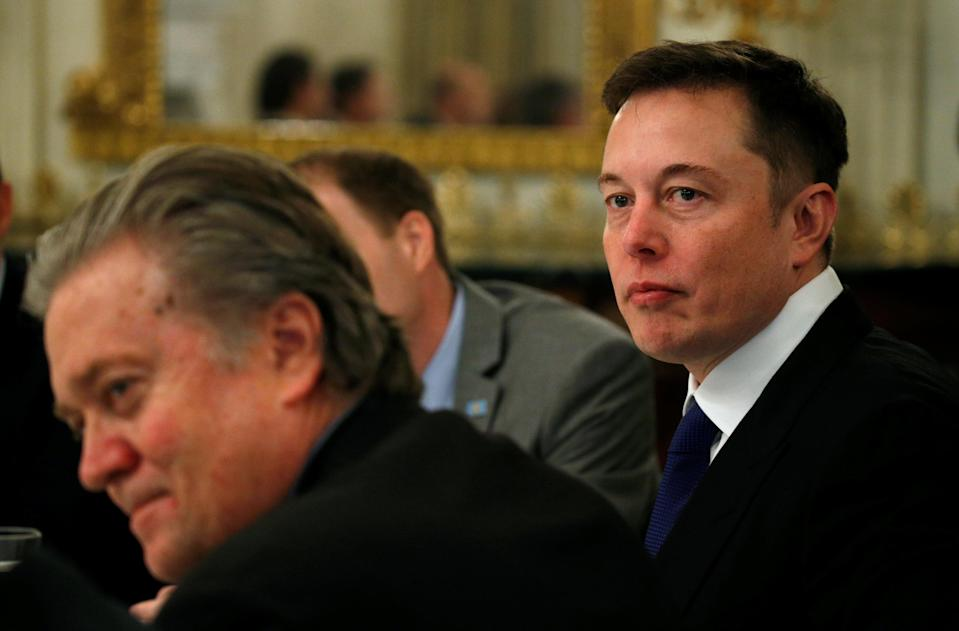 Trump advisor Steve Bannon, who pushed for Trump to exit Paris with Tesla CEO Elon Musk, who gave Trump an ultimatum to stay. Source: Reuters