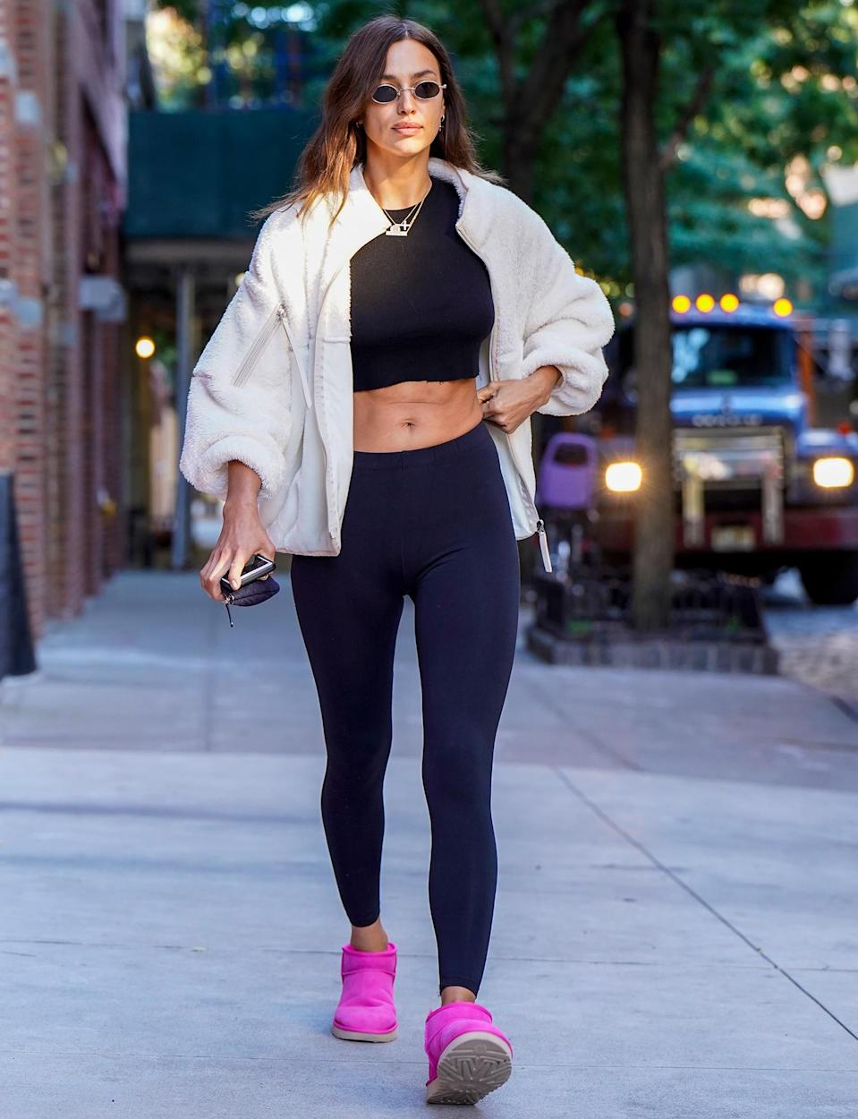 <p>Irina Shayk shows off her abs in a crop top while out on Thursday in N.Y.C.</p>