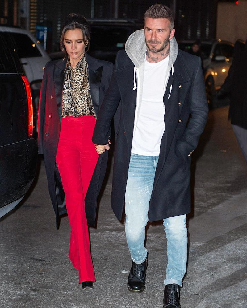 Two Beckhams, two perfect overcoats.