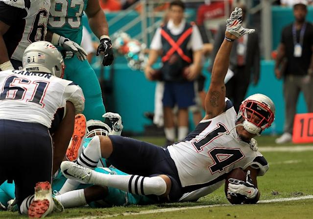 Michael Floyd, then of the New England Patriots, scores a touchdown during a game against the Miami Dolphins at Hard Rock Stadium on January 1, 2017 in Miami Gardens, Florida (AFP Photo/Mike Ehrmann)