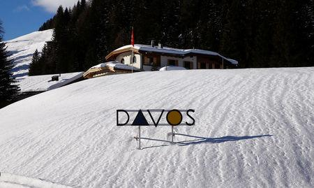 The logo of the town is seen in the Swiss mountain resort of Davos, Switzerland, January 11, 2018  REUTERS/Arnd Wiegmann