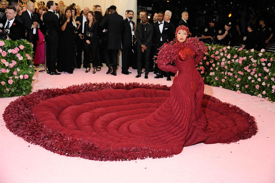 Cardi B at the Met Gala in a red outfit in 2019