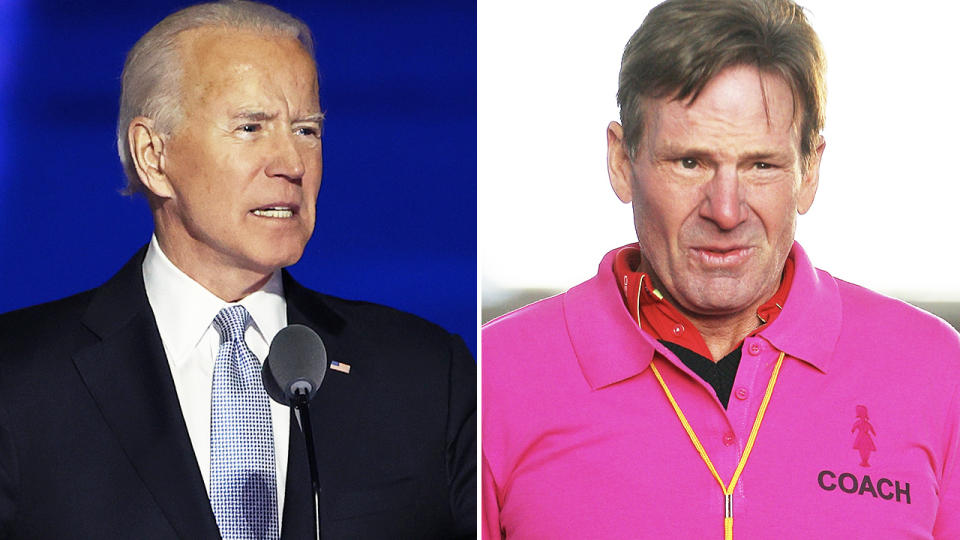 Joe Biden and Sam Newman, pictured here in their respective roles.