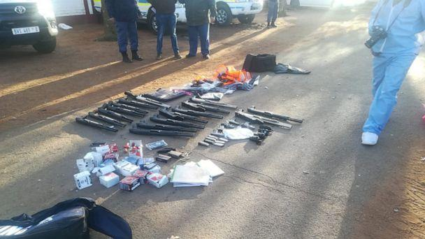 PHOTO: Weapons seized by South African police in connection with a hostage situation and shooting at International Pentecostal Holiness Church, northwest of Pretoria, July 11, 2020. (South African Police Service via Twitter)