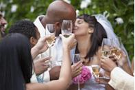 """<p>During a toast, claps and chuckles are fine but try to refrain from anything that will distract the person giving the toast. """"It's easy after a glass or two to get into the moment, but beyond the appropriate chuckle or clap, never blurt out what you think is some hilarious addition to the toast,"""" says Porter. Heads up: It's probably not that funny anyway.</p>"""