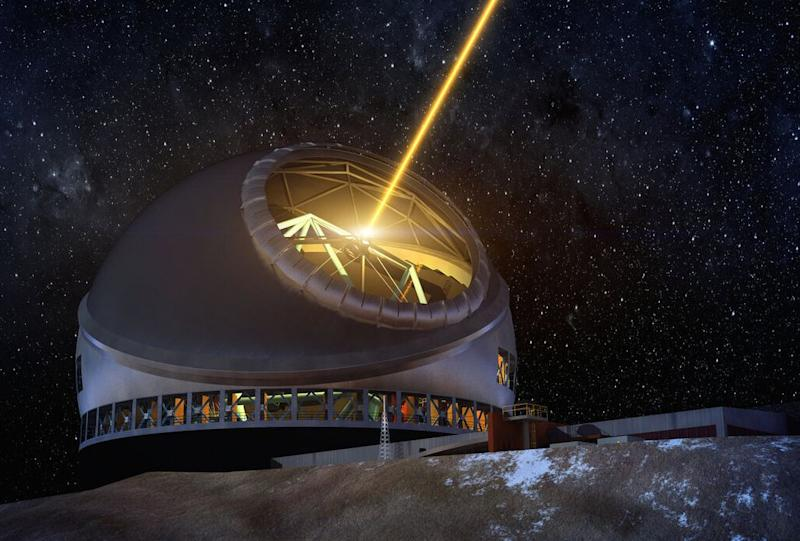 An artist concept of the Thirty Meter Telescope at night. (Photo: Courtesy TMT International Observatory)
