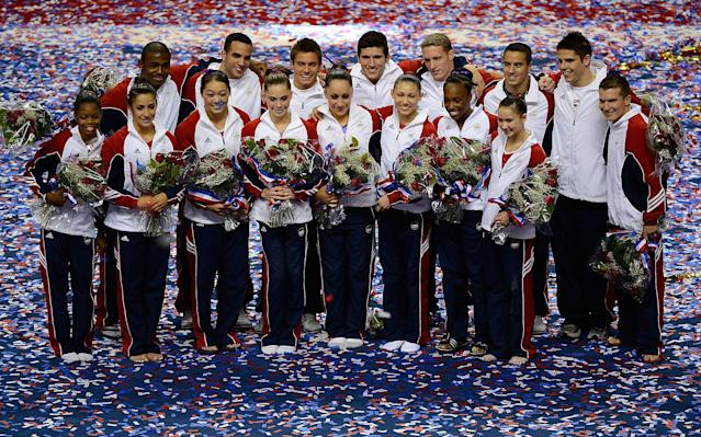 SAN JOSE, CA - JULY 01: The USA gymnastics team poses for a photo during day 4 of the 2012 U.S. Olympic Gymnastics Team Trials at HP Pavilion on July 1, 2012 in San Jose, California. (Photo by Ronald Martinez/Getty Images)