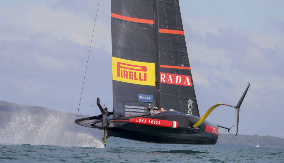 Italy's Luna Rossa races on the third day of racing of the America's Cup challenger series on Auckland's Waitemate Harbour, New Zealand, Sunday, Jan. 17, 2021. (Michael Craig/NZ Herald via AP)