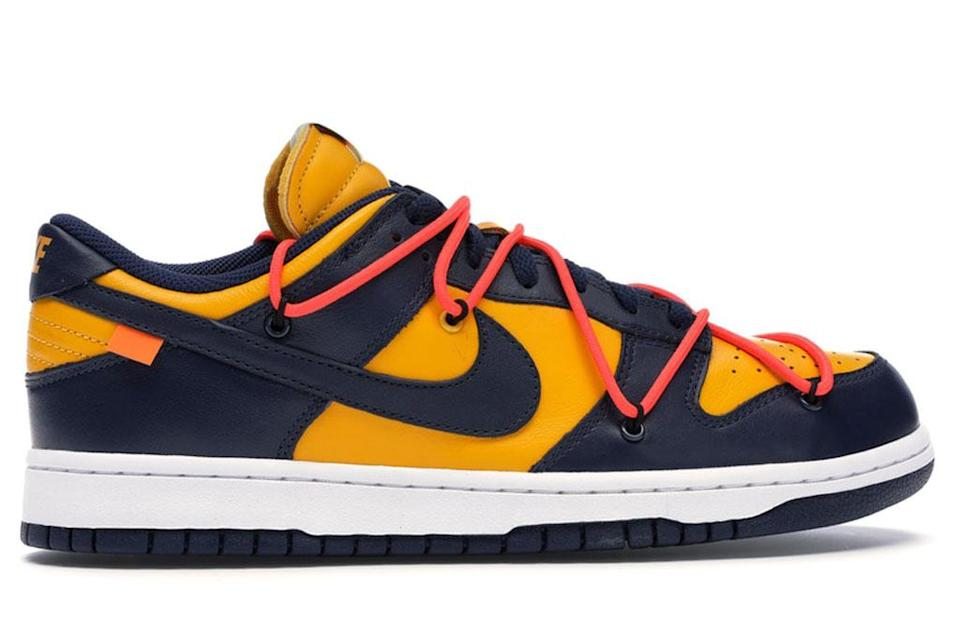 """Off-White x Nike Dunk Low """"University Gold."""" - Credit: StockX.com"""