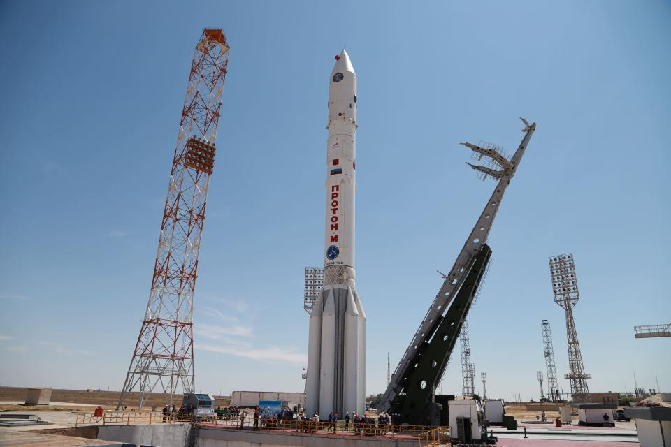 In this photo provided by Roscosmos Space Agency Press Service, A Proton-M booster rocket carrying the Nauka module stands at the launch pad at Russia's space facility in Baikonur, Kazakhstan, Wednesday, July 21, 2021. Russia has successfully launched a long-delayed lab module for the International Space Station. The module is intended to provide more room for scientific experiments and space for the crew. (Roscosmos Space Agency Press Service photo via AP)