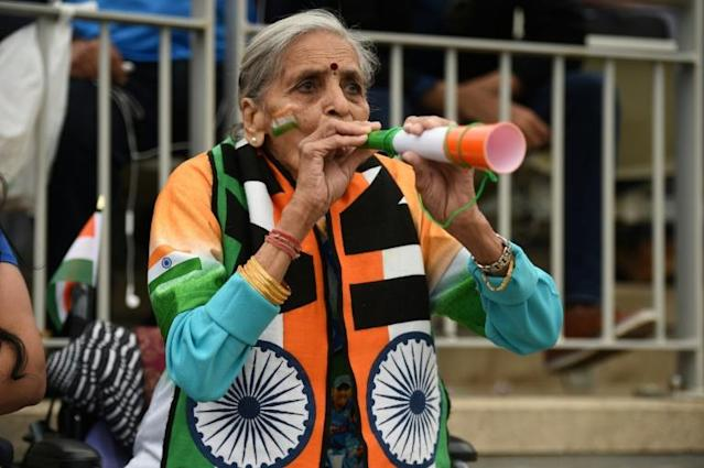 Grandmother Charulata Patel shot to attention after being spotted in the crowd watching India play Bangladesh at last year's World Cup, enthusiastically blowing a vuvuzela (AFP Photo/Oli SCARFF )