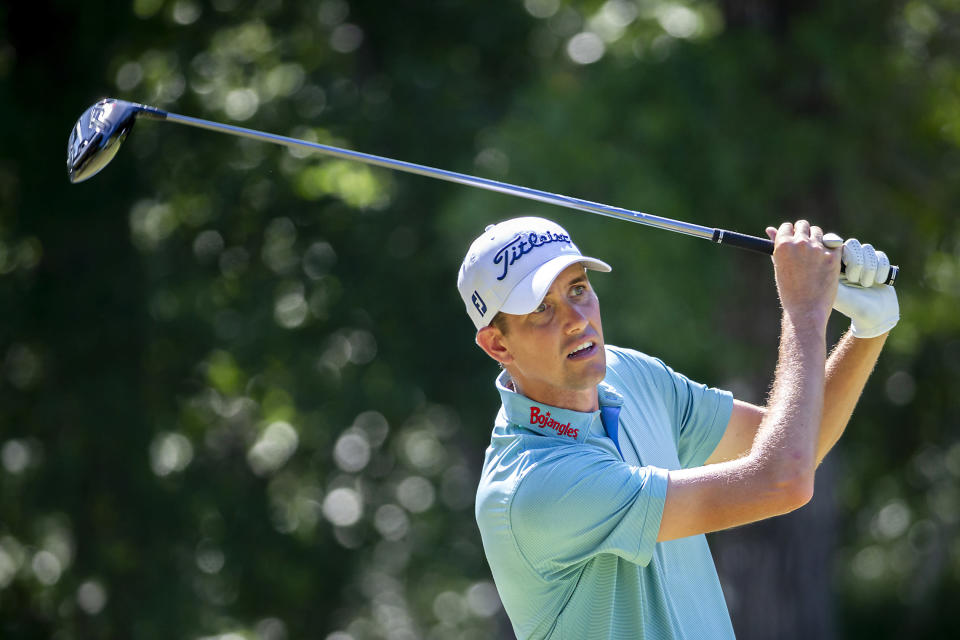 Chesson Hadley watches his drive off the 12th tee during the second round of the Palmetto Championship golf tournament in Ridgeland, S.C., Friday, June 11, 2021. (AP Photo/Stephen B. Morton)