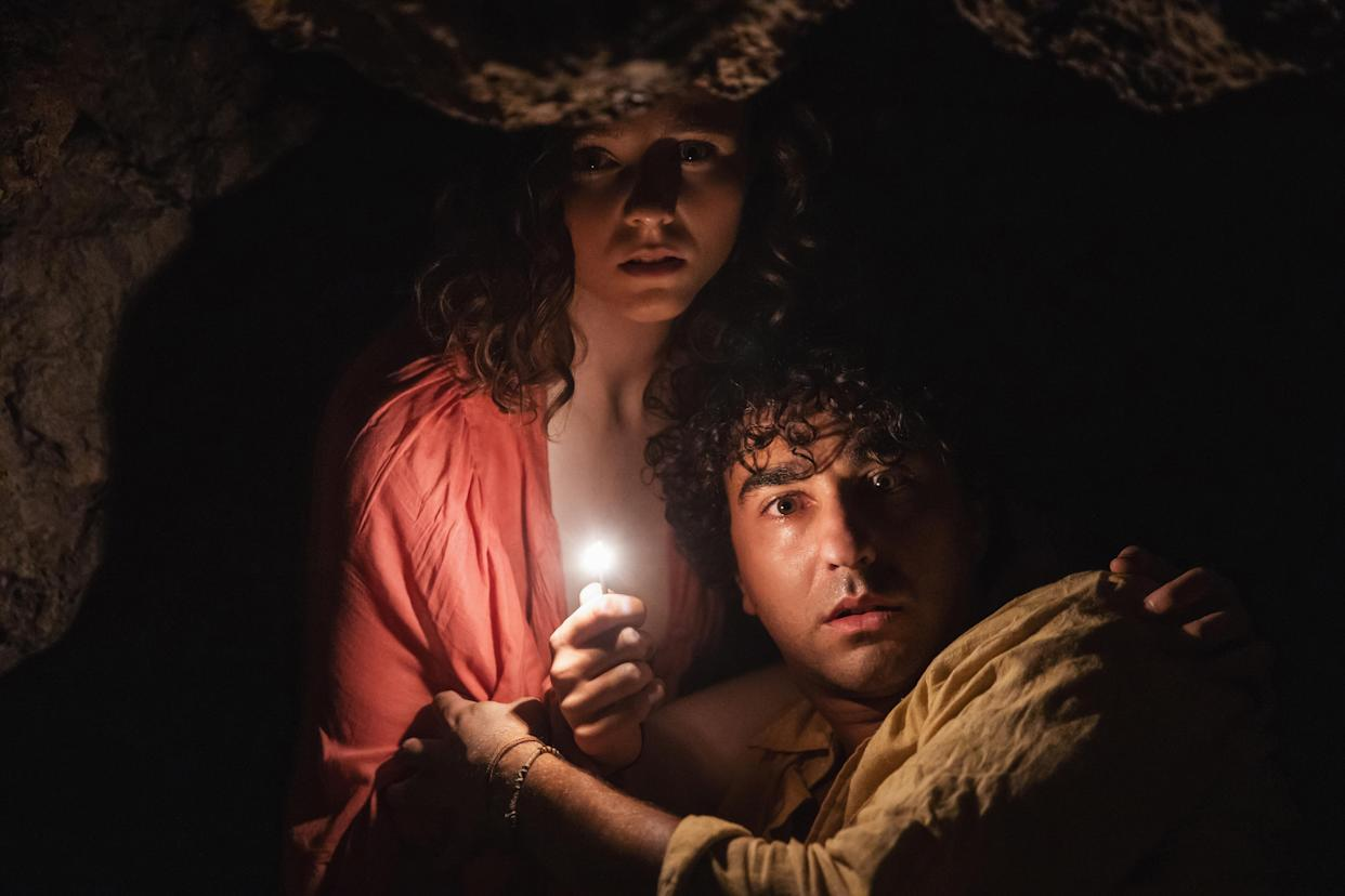 (from left) Maddox (Thomasin McKenzie) and Trent (Alex Wolff) in Old, written for the screen and directed by M. Night Shyamalan.