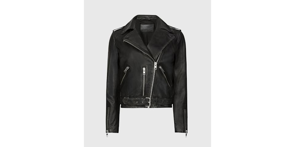best winter coats: All Saints Balfern Leather Biker Jacket