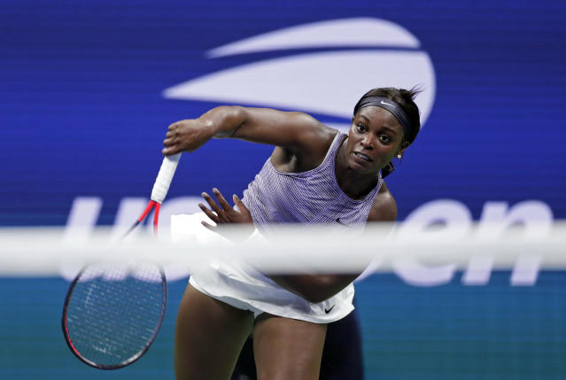 Sloane Stephens, of the United States, serves to Anna Kalinskaya, of Russia, during the first round of the U.S. Open tennis tournament Tuesday, Aug. 27, 2019, in New York. (AP Photo/Adam Hunger)