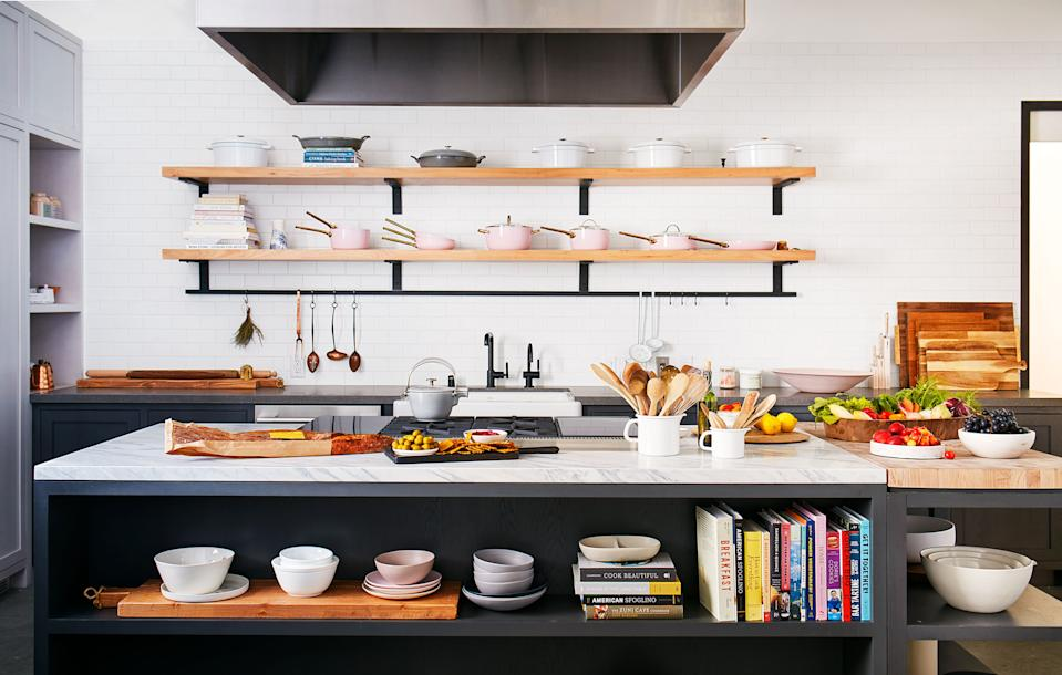 The on-air kitchen has Kohler fixtures and appliances by Signature Kitchen Suite.