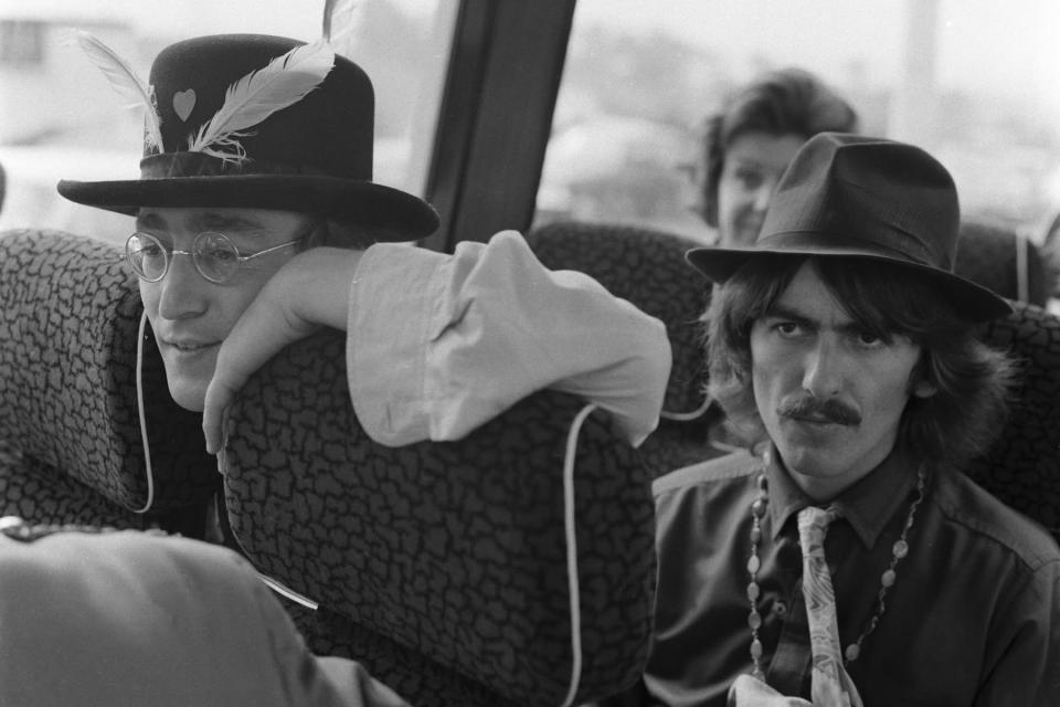 """John Lennon And George Harrison Film """"Magical Mystery Tour"""" - Credit: Jeff Hochberg/Getty Images"""