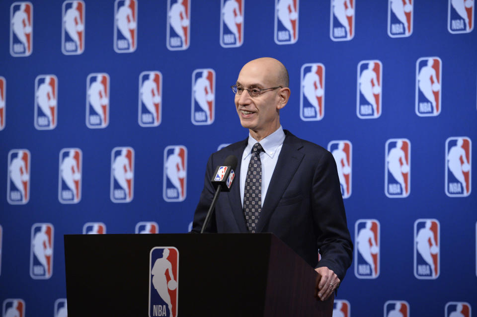 LAS VEGAS, NV – JULY 10: NBA Commissioner Adam Silver speaks to the media after the Board of Governors meetings on July 10, 2018 at The Encore Casino and Hotel in Las Vegas, Nevada. (Photo by David Dow/NBAE via Getty Images)