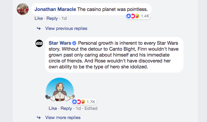 """The """"Star Wars"""" Facebook page just epically clapped back at"""