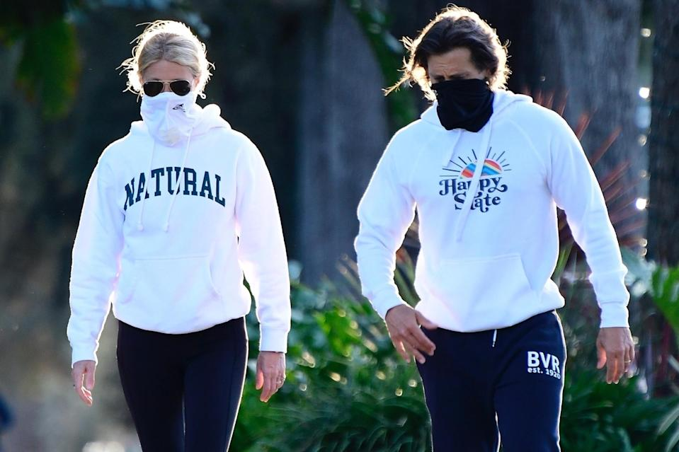 <p>Gwyneth Paltrow and Brad Falchuk enjoyed an afternoon New Year's Day walk together in Brentwood, California. </p>
