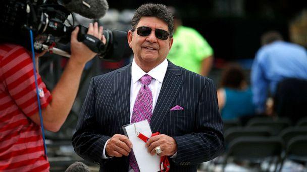 PHOTO: Former owner of the San Francisco 49ers Edward DeBartolo, Jr., is interviewed before the Pro Football Hall of Fame ceremony at Tom Benson Hall of Fame Stadium in Canton, Ohio, Aug. 8, 2015. (Gene J. Puskar/AP, FILE)