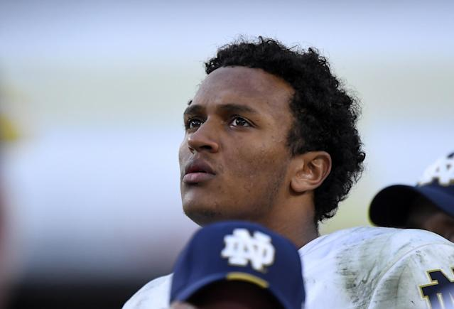 Notre Dame QB DeShone Kizer has talent but also some mechanical issues to clean up. (AP)
