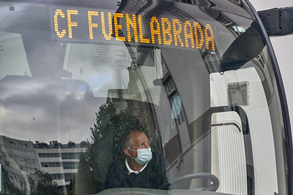 LA CORUNA, SPAIN - JULY 20: The bus of CF Fuenlabrada waits for players who have tested positive for Covid-19 before the La Liga Smartbank match between RC Deportivo and CF Fuenlabrada at Estadio Abanca Riazor on July 20, 2020 in La Coruna, Spain. (Photo by Jose Manuel Alvarez/Quality Sport Images/Getty Images)